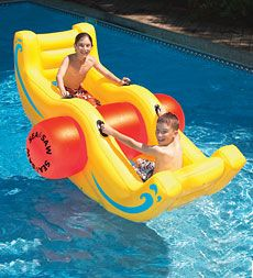 Durable Heavy-Duty Vinyl Sea-Saw Rocking Boat... this is too cool. @Rachel Parker and @Jenny Steelman, how much fun would this be?!