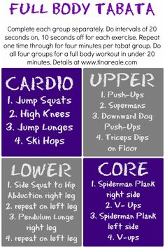 Tabata workout, been cross training with tabata lately and LOVE it! - Tabata workout, been cross training with tabata lately and LOVE it! Reto Fitness, Fitness Diet, Health Fitness, Shape Fitness, Fun Workouts, At Home Workouts, Workout Exercises, Body Workouts, Workout Body