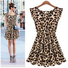 470a2d3058e1c6 Ladies Sexy Leopard Swing Mini Dress Crewneck Tunic Skater Party Sundress M