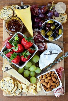 Rustic cheese board. Great flavors and colors for large wedding/bridal shower cheese table.