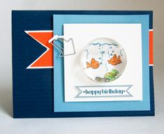 Fun Fishin' Around card and treat cup filled with water tutorial!