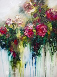Modern flower painting of red roses and and white flowers by contemporary artist Melissa McKinnon title Metamorphosis Art Floral, Abstract Flowers, Acrylic Flowers, Abstract Art, Original Art, Original Paintings, Acrylic Paintings, Inspiration Art, Oeuvre D'art