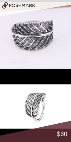Brand new pandora light as a feather Brand new pandora light as a feather  size 7.5 price is firm Pandora Jewelry Rings