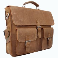 "Vintage Handmade Crazy Horse Leather Briefcase, Messenger, 14"" Laptop / 15"" MacBook Bag"
