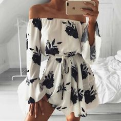 Cheap mini dress, Buy Quality flower print dress directly from China print dress Suppliers: Flower Print Dress Women Slash Neck Off Shoulder Sexy Dresses 2017 Full Flare Sleeve Sashes Beach Mini Dress Woman Casual Robe Girls Playsuit, Floral Playsuit, Boho Floral Dress, Floral Flowers, Floral Dresses, Black Flowers, Floral Jumpsuit, Sexy Dresses, Casual Dresses