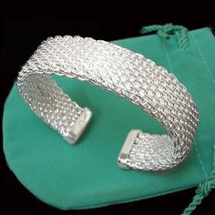 Tiffany Outlet Mesh Silvery white Bangle