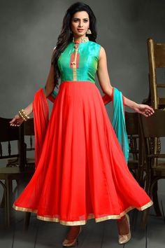 Aqua blue & red orange striking georgette & raw silk anarkali salwar -SL6240 - Designer Salwars - Salwars