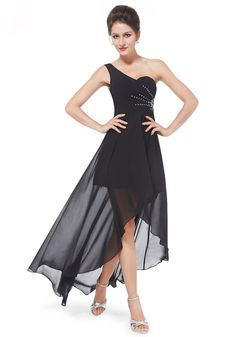 Sexy High Low One Shoulder Chiffon Black Backless Evening Dress