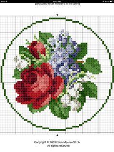 Rose and Lily Cross Stitch Pattern Cross Stitch Love, Cross Stitch Borders, Cross Stitch Flowers, Cross Stitch Charts, Cross Stitch Designs, Cross Stitching, Cross Stitch Embroidery, Cross Stitch Patterns, Crochet Cross