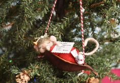 Needle Felted Sleepy Mouse Waiting For Santa And by JustFeltRite
