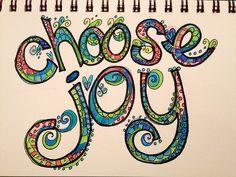 Choose Joy l lovely lettering! Tangle Doodle, Doodles Zentangles, Zentangle Patterns, Doodle Art, Doodle Alphabet, Doodle Ideas, Creative Lettering, Hand Lettering, Lettering Ideas
