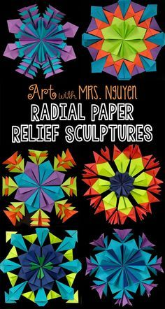 Paper Relief Sculptures Art with Mrs. Nguyen (Gram): Radial Paper Relief Sculptures with Mrs. Chuck Close Art, Classe D'art, Steam Art, Symmetry Art, Middle School Art Projects, Art School, Middle School Crafts, Back To School Art, Sculpture Lessons