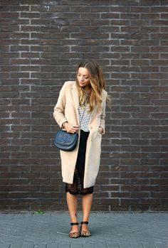 Lace, leopard, stripes AND classic camel coat, this might just be our fave #ootd evah!!