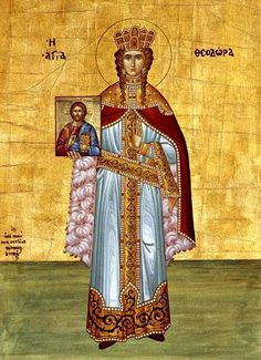 Saint Theodora Augusta, the empress of Byzantium. Her holy relic is in the church of Panagia Spileotissa - Corfu island. Armenian History, Armenian Culture, Greek Icons, Mystery Of History, Religious Icons, Religious Images, Religious Art, The Empress, Medieval Clothing