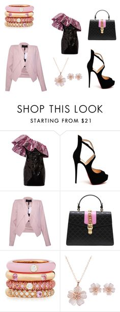 """""""Barbie Night Out #1"""" by emily-h2500 on Polyvore featuring Yves Saint Laurent, Christian Louboutin, BCBGMAXAZRIA, Gucci and Adolfo Courrier"""