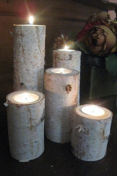 Large Birch Bark Log Tea Light Candle Holders by FloralAccents