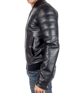 VERSACE COLLECTION - Leather jacket with elastic details - Black