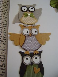 Owl Punch, distinguished looking group! Owl Crafts, Paper Crafts, Owl Punch Cards, Owl Card, Paper Owls, Bird Cards, Scrapbook Cards, Scrapbook Albums, Creative Cards