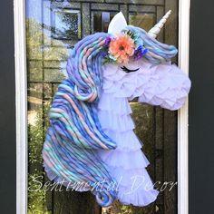 Unicorn Wreath available in my Etsy shop! Unicorn Wreath available in my Etsy shop! How To Make Frames, How To Make Wreaths, Diy Wreath, Mesh Wreaths, Burlap Wreaths, Wreath Making, Wreath Crafts, Wreath Ideas, Bedroom Door Decorations