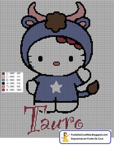 Punto De Cruz Horoscopo Hello Kitty Tauro
