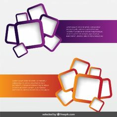 Banners pack with rounded squares