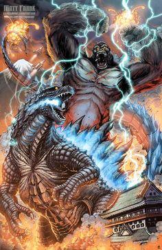 Godzilla vs King Kong_Another Matt Frank Masterpiece King Kong Vs Godzilla, Godzilla Wallpaper, Giant Monster Movies, Cool Monsters, Skull Island, Fantasy Art, Cool Art, Beast, Creatures