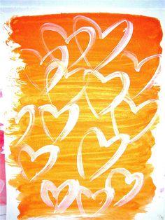 Orange watercolor wash.