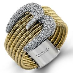 Simon G. 18K Yellow Gold Diamond Buckle Ring - Style MR2042 · MR2042 · Ben Garelick Jewelers