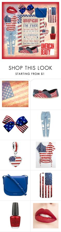 """""""Land of the Free, Home of the Brave 🇺🇸"""" by abigail-fredricks ❤ liked on Polyvore featuring TOMS, Topshop, Pandora, Mansur Gavriel, OPI, Jouer and country"""