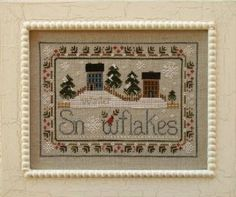 """This cross stitch pattern titled """"Snowflakes"""" is from Little House Needleworks and is stitch with DMC and Crescent Colours (Bamboo, Milady's..."""