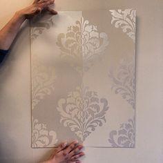 Showing stripes with a subtle tone on tone metallic treatment | Ornamental Flower Stencil | Royal Design Studio