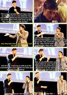[GIFSET] JIBCON2014 #Jensen, #Misha Jensen is just too classy. He looks so scandalized!! Lol