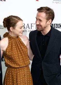 Emma Stone and Ryan Gosling attend The BAFTA Tea Party at Four Seasons Hotel Los Angeles at Beverly Hills on January 7, 2017 in Los Angeles, California.