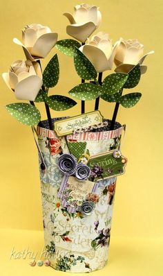 Secret Garden altered pail and paper roses from Kathy Helton! Amazing ! #graphic45