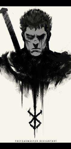 Berserk - Guts (Fanart by DeviantArt user TheFearMaster) Anime Fantasy, Dark Fantasy, Fantasy Art, Manga Anime, Anime Art, Majin, Japon Illustration, Fan Art, Dark Souls