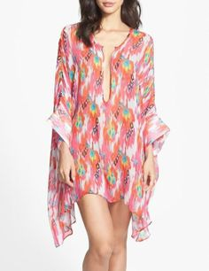 Love the neon Aztec print on this silk night shirt.