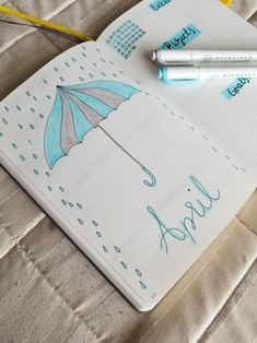 April 2019 Cover Page - Bullet journal İdeas in 2019 Bullet Journal Index, April Bullet Journal, Bullet Journal Cover Ideas, Bullet Journal Monthly Spread, Bullet Journal Tracker, Bullet Journal Notebook, Bullet Journal Inspiration, Journal Fonts, Bullet Journal Printables