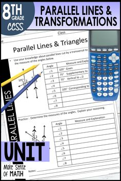 This parallel lines cut by a transversal and transformations unit includes notes, assessments, worksheets, and fun activities. Your 8th grade math and Algebra students will love diving into angles, triangles, exterior angles of triangles, transformations, similarity, and congruecy. These products are aligned to the 8th grade common core standards. #makesenseofmath Geometry Activities, Fun Math Activities, Exterior Angles, Pythagorean Theorem, 8th Grade Math, Common Core Standards, Algebra, Triangles, Diving