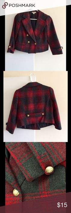 Cropped Plaid Jacket - Perfect Condition! Cropped Plaid Jacket - Perfect Condition.  Looks cute layered over a blouse or sweater! Forever 21 Jackets & Coats
