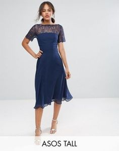 ASOS TALL Lace Insert Panelled Midi Dress