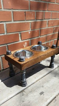 Rustic industrial pipe and wood pet feeder by PipeAndWoodDesigns