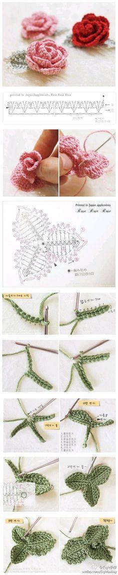 crochet rose and 3-leaves