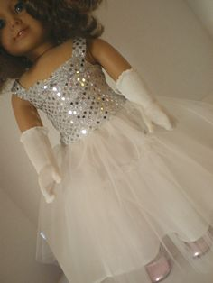 American Girl Doll Clothes Sequin Tulle Dress by fashioned4you