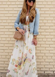 Floral Maxi Dress and Denim Jacket | The Teacher Diva