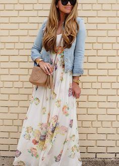 Floral Maxi Dress and Denim Jacket | The Teacher Diva