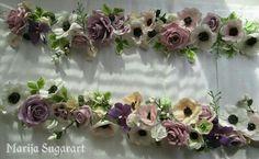 Sugarflowers, wedding cake, roses, anemones, gumpaste