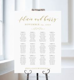 Gold Calligraphy Wedding Seating Chart Gold Calligraphy Table Plan Alphabetical Seating Sign Seating Chart Template-SN021/_SCG