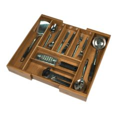 Teak Wood expandable flatware and cutlery drawer organizer. I got one of these for Christmas..Love it..Holds all the silverware, wine gadgets, and more!