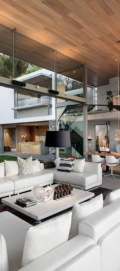 Stunning and very unique architecture. The use of vertical and horizontal lines makes it very modern. Also the organic design and large open windows bring the outside in. Interior Design For Living Room Home Interior Design, Interior And Exterior, Interior Decorating, Luxury Interior, Interior Ideas, Decorating Ideas, Interior Livingroom, Luxury Decor, Architecture Design
