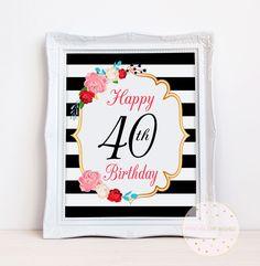 40 cumpleaños fiesta imprimible muestra, 40 años mujeres fiesta decoraciones, 40 aniversario imprimir descargar, 40 fuentes del partido, PAW100 de PrintableArtWishes en Etsy https://www.etsy.com/es/listing/535088831/40-cumpleanos-fiesta-imprimible-muestra